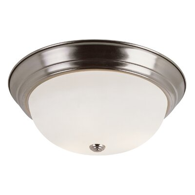 Button Frost 2-Light Flush Mount Size: 6 H x 13 W, Finish: Brushed Nickel