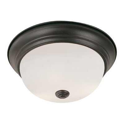 Button Frost 2-Light Flush Mount Size: 6 H x 13 W, Finish: Rubbed Oil Bronze