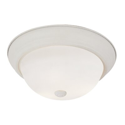 Button Frost 3-Light Flush Mount Finish: Antique White