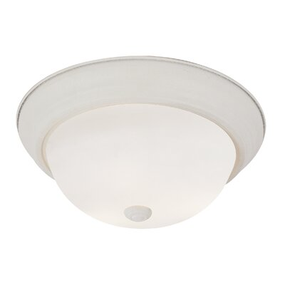 Button 2-Light Flush Mount Size: 11 W, Finish: Antique White
