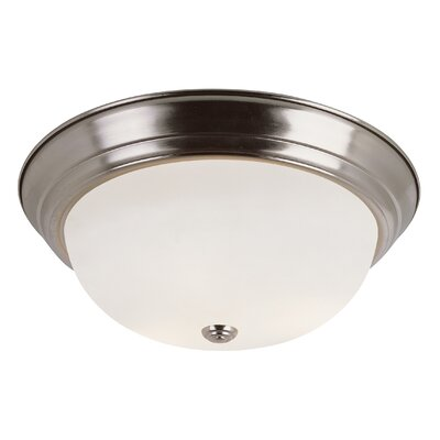 Button 2-Light Flush Mount Size: 11 W, Finish: Brushed Nickel
