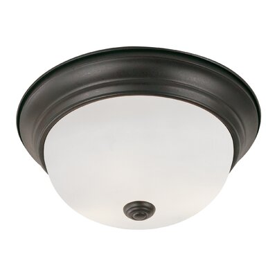 Button 2-Light Flush Mount Size: 11 W, Finish: Rubbed Oil Bronze