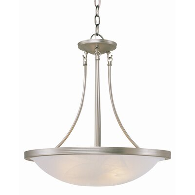 3-Light Inverted Pendant Finish: Brushed Nickel, Size: 22 H x 19 W