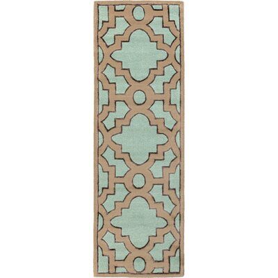 Modern Classics Teal/Light Brown Area Rug Rug Size: Runner 26 x 8