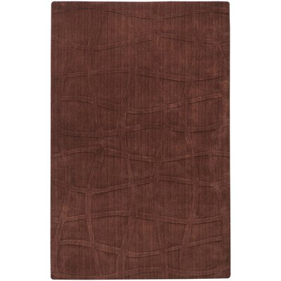 Sculpture Chocolate Checked Area Rug Rug Size: 5 x 8