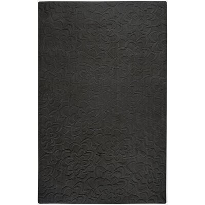 Sculpture Black Floral Rug Rug Size: Square 16