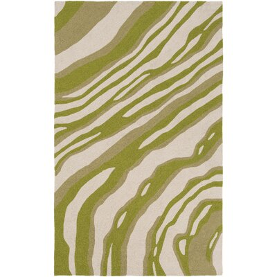 Courtyard Hand-Hooked Green Indoor/Outdoor Area Rug Rug Size: Rectangle 5 x 76