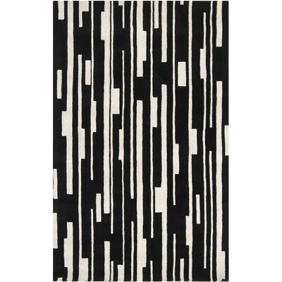 Modern Classics Winter White/Jet Black Rug Rug Size: Rectangle 5 x 8
