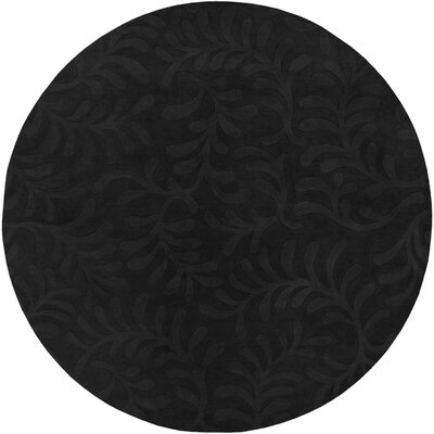 Sculpture Black Area Rug Rug Size: Round 8
