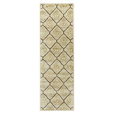 Modern Classics Yellow/Ivory Area Rug Rug Size: Runner 26 x 8