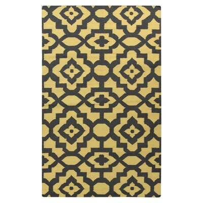 Market Place Gold/Black Area Rug Rug Size: 8 x 11