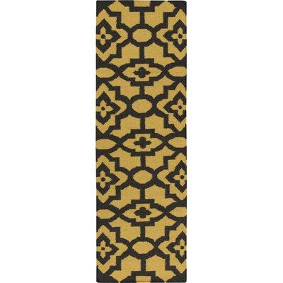 Market Place Gold/Black Area Rug Rug Size: Runner 26 x 8