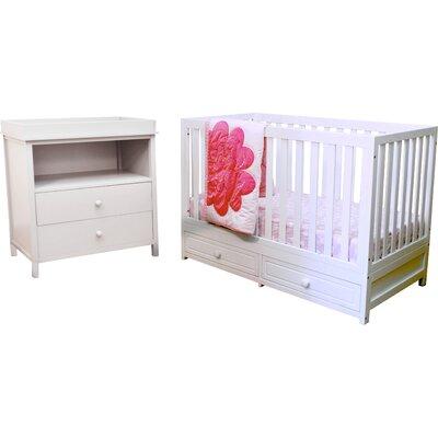 Marilyn 3-in-1 Convertible 2 Piece Crib Set 668W + 007W
