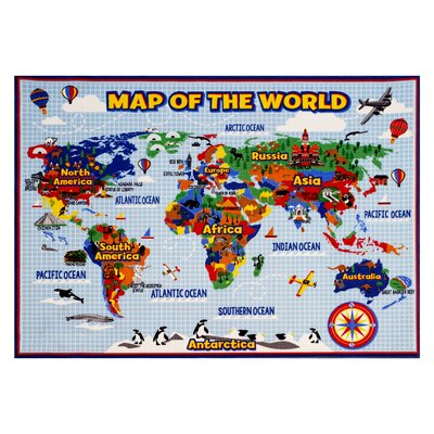 World Map Area Rug Rug Size: 53 x 7