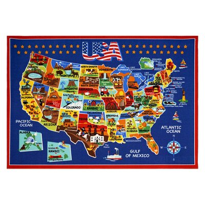 USA Map Area Rug Rug Size: 53 x 7