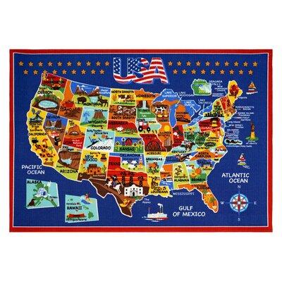 USA Map Area Rug Rug Size: 53 x 7
