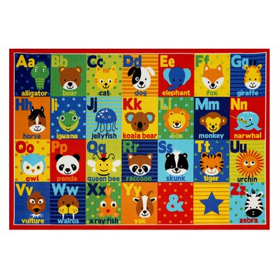 Hastings Alphabet Friends Red/Blue Area Rug Rug Size: 710 x 10