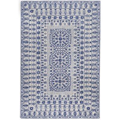 Smithsonian Ivory/Blue Area Rug Rug Size: 33 x 53