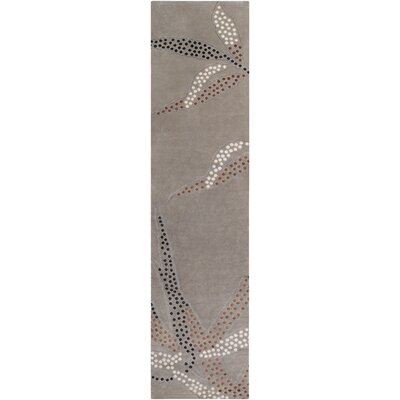 Heritage Taupe Gray Floral Area Rug Rug Size: Runner 26 x 10