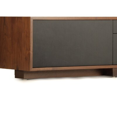 Lineground Lowdown TV Stand Wood Finish: Walnut, Drawer Face Material: Black Leather, Style: Media Unit