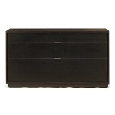 Lineground 3 Drawer Horizontal Bureau Wood Finish: Ebonized Rift White Oak, Drawer Face Material: Wood