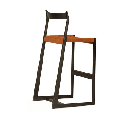 Lineground 24 Bar Stool Finish: Ebonized White Oak, Upholstery: Chestnut
