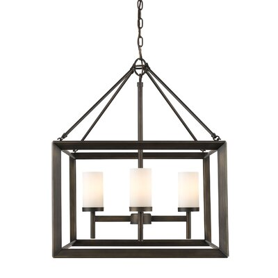 Thorne 4-Light Hanging Foyer Pendant Shade Color: White Glass, Finish: Gunmetal Bronze