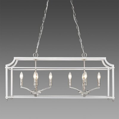 Bartley 8-Light Steel Kitchen Island Pendant Finish: White