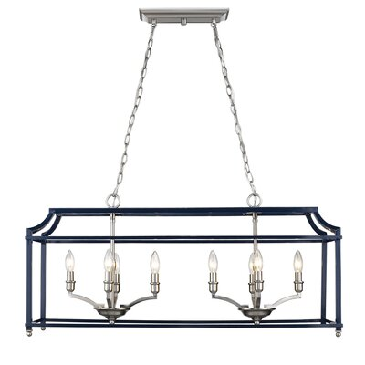 Bartley 8-Light Steel Kitchen Island Pendant Finish: Navy