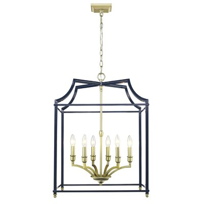 Bartley 6-Light Steel Foyer Pendant Finish: Navy