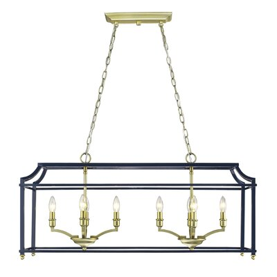 Bartley Linear 8-Light Kitchen Island Pendant Finish: Navy