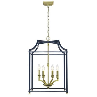 Bartley 4-Light Steel Foyer Pendant Finish: Navy