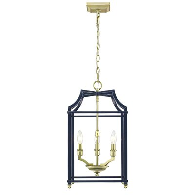 Bartley 3-Light Steel Foyer Pendant Finish: Navy
