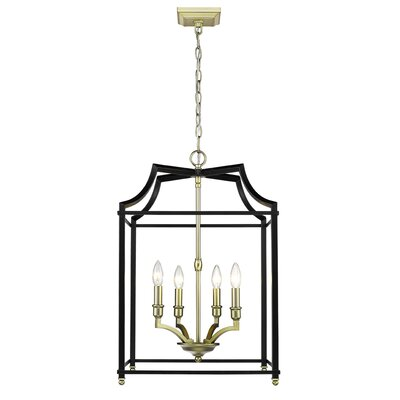 Bartley 4-Light Steel Foyer Pendant Finish: Black