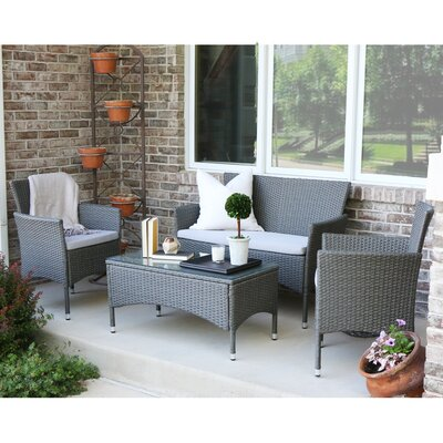 Baxter 4 Piece Lounge Seating Group with Cushions Finish: Gray