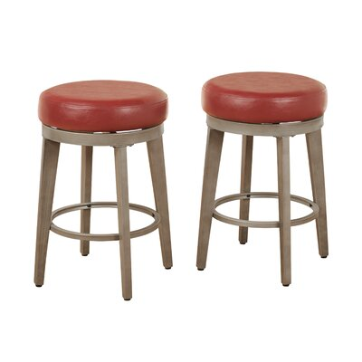 24.5 Swivel Bar Stool Seat Color: Red
