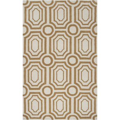 Hudson Park Old Gold & Winter White Area Rug Rug Size: Runner 26 x 8
