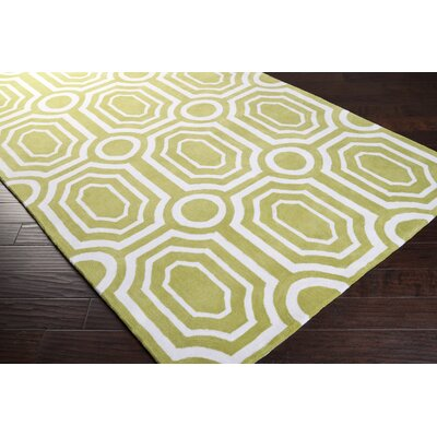 Hudson Park Hand-Tufted Green/White Area Rug Rug Size: Rectangle 2 x 3
