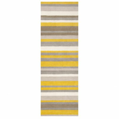Stuart Hand-Loomed Grey/Brown Area Rug Rug Size: Runner 26 x 8
