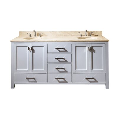 Modero 73 Double Bathroom Vanity Set Top Finish: Natural Galala Beige Marble