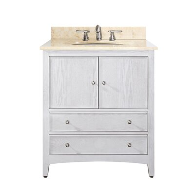 Westwood 31 Single Bathroom Vanity Set Base Finish: White Washed, Top Finish: Galala Beige