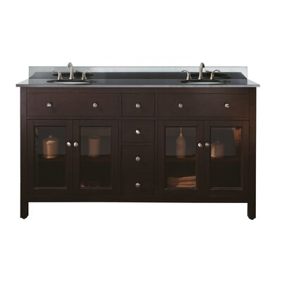 Lexington 61 Double Bathroom Vanity Set Top Finish: Black Granite