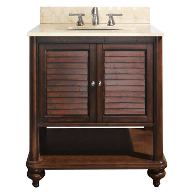 Tropica 31 Single Bathroom Vanity Set Base Finish: Antique Brown, Top Finish: Galala Beige