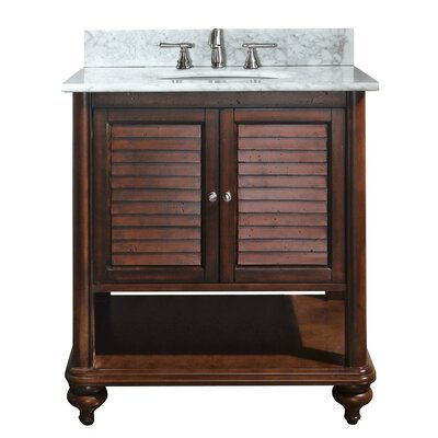 Tropica 31 Single Bathroom Vanity Set Base Finish: Antique Brown, Top Finish: Carrera White