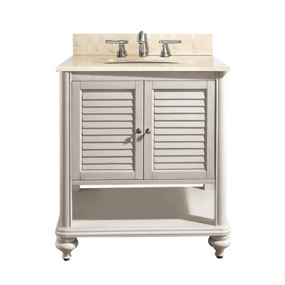 Tropica 25 Single Bathroom Vanity Set Base Finish: Antique White, Top Finish: Galala Beige