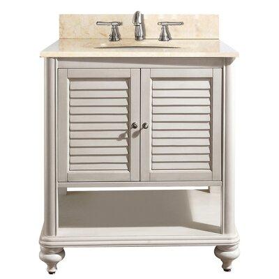 Tropica 31 Single Bathroom Vanity Set Base Finish: Antique White, Top Finish: Galala Beige