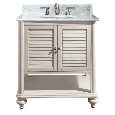 Tropica 31 Single Bathroom Vanity Set Base Finish: Antique White, Top Finish: Carrera White