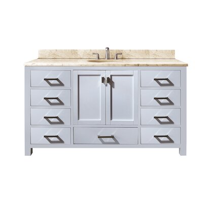 Modero 61 Single Bathroom Vanity Set Base Finish: White, Top Finish: Galala Beige