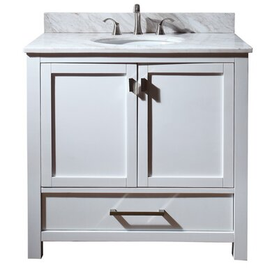 Modero 37 Single Bathroom Vanity Set Top Finish: Natural Carrera White Marble