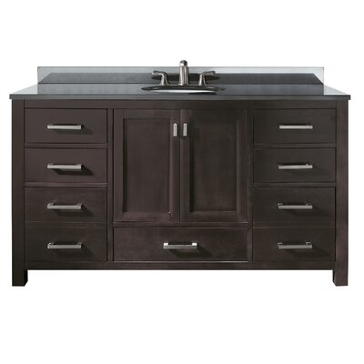 Modero 61 Single Bathroom Vanity Set Base Finish: Espresso, Top Finish: Black Granite